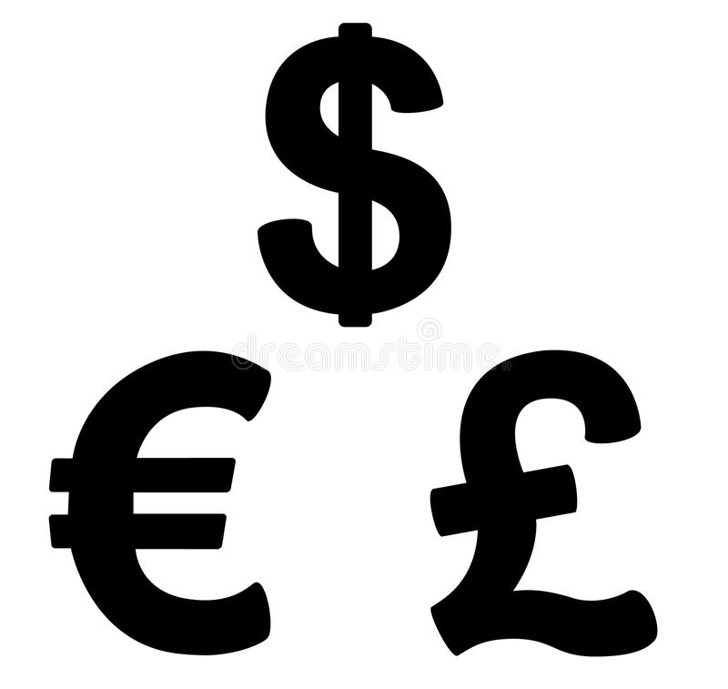 Set of currency symbols black and white stock illustration