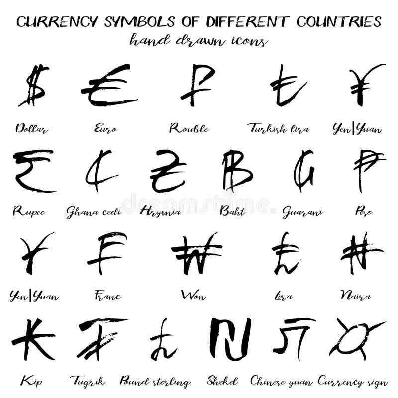 Set Of Currency Symbols In Hand Drawn Style Stock Vector