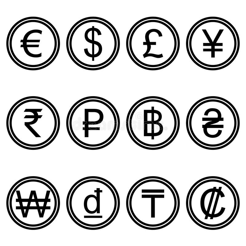 Currency symbols icons simple black and white colored set stock illustration