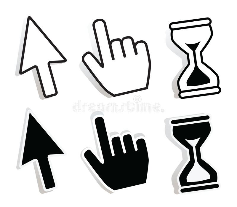 Set of cursors with variations. Vector royalty free illustration