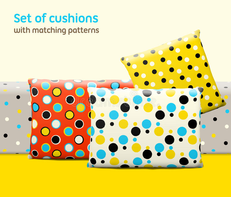 Set of cushions and pillows with matching seamless patterns. Interior, furniture design elements. EPS10 , meshes, transparencies used. Pattern swatches vector illustration