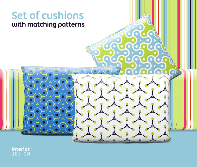 Set of cushions and pillows with matching seamless patterns. Interior, furniture design elements. EPS10 , meshes, transparencies used. Pattern swatches royalty free illustration