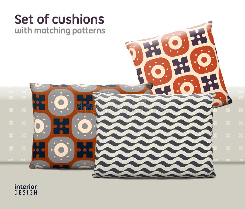 Set of cushions and pillows with matching seamless patterns. Interior, furniture design elements. EPS10 , meshes, transparencies used. Pattern swatches stock illustration