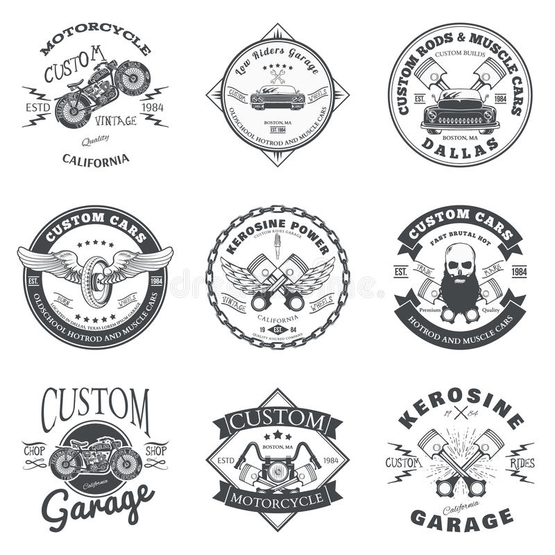 Set of Custom Car and Bike Garage Label and Badge Design Vector royalty free illustration