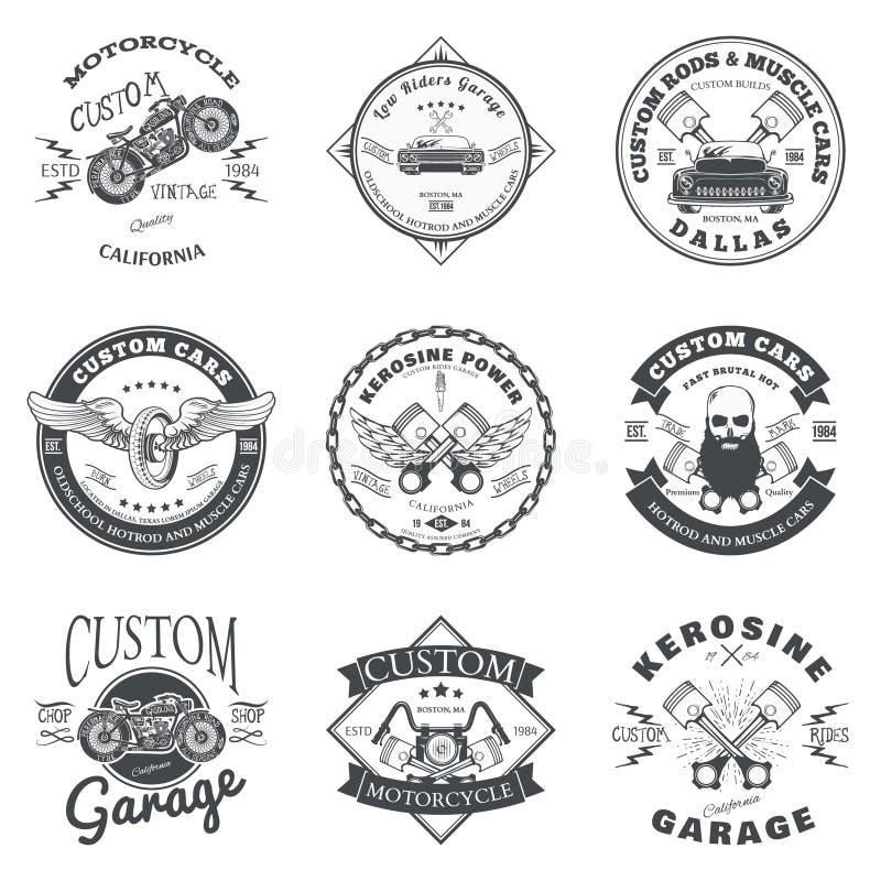 Set of Custom Car and Bike Garage Label and Badge Design Vector vector illustration
