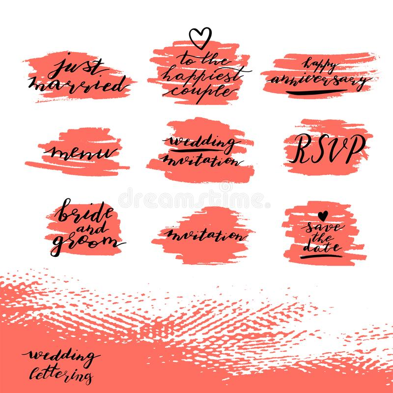 Set of Custom hand  lettering phrases save the date, rsvp, bride and groom, wedding invitation, happy anniversary vector illustration