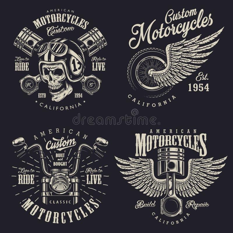 Set of custom motorcycle emblems royalty free illustration