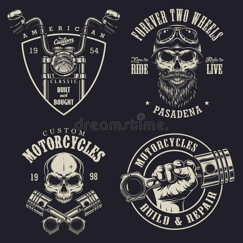 Set of custom motorcycle emblems stock illustration