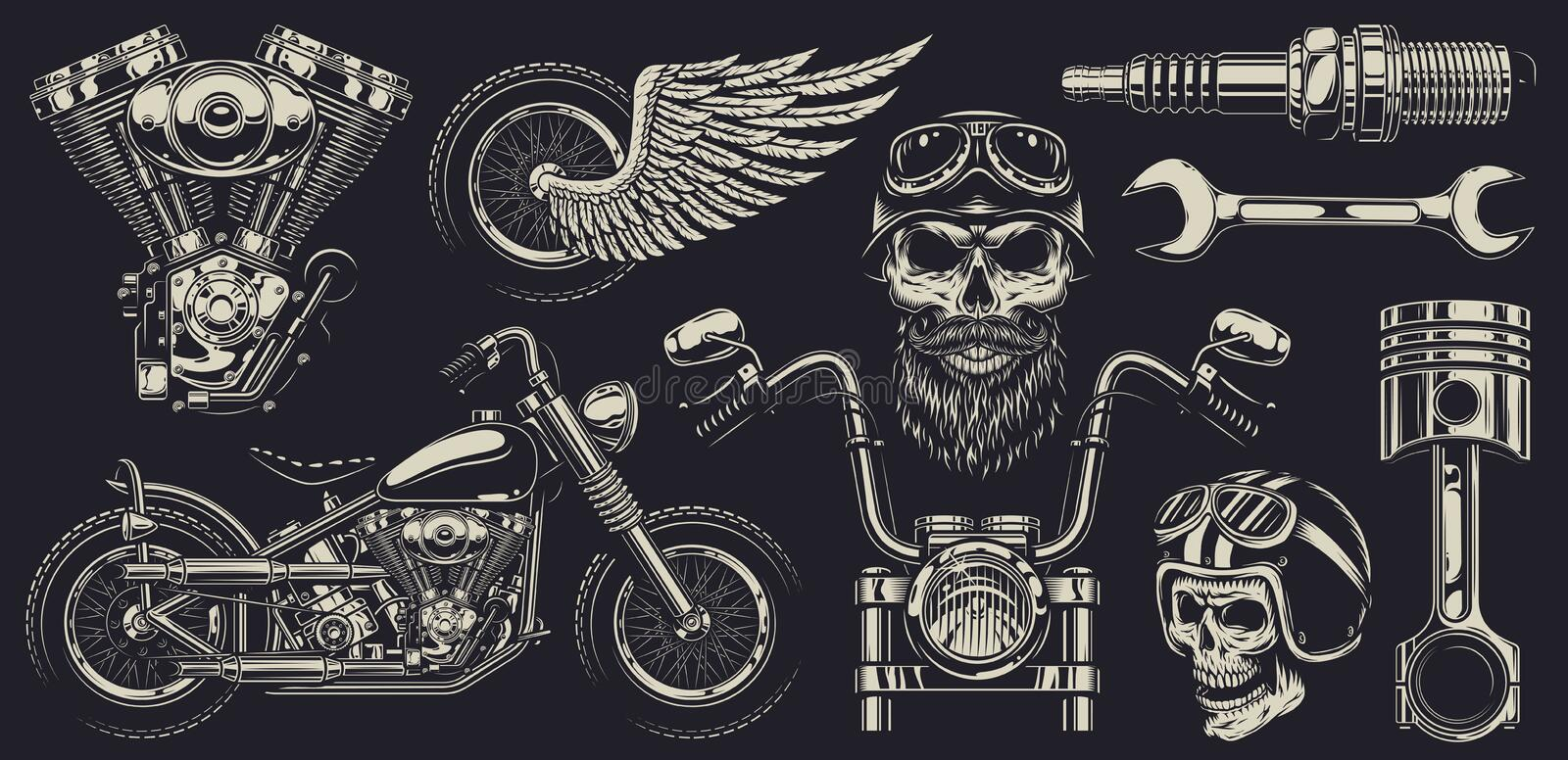 Set of custom motorcycle emblems royalty free illustration