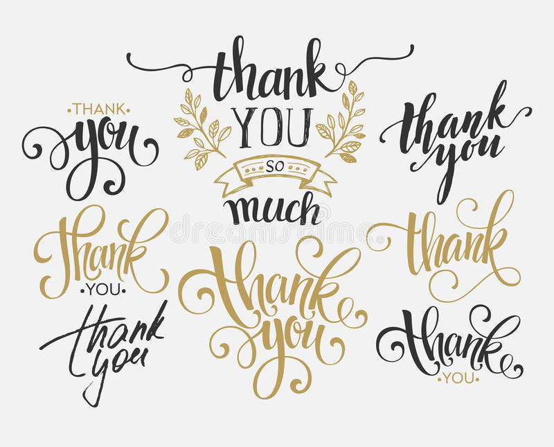 Set of custom THANK YOU hand lettering. Vector royalty free stock images