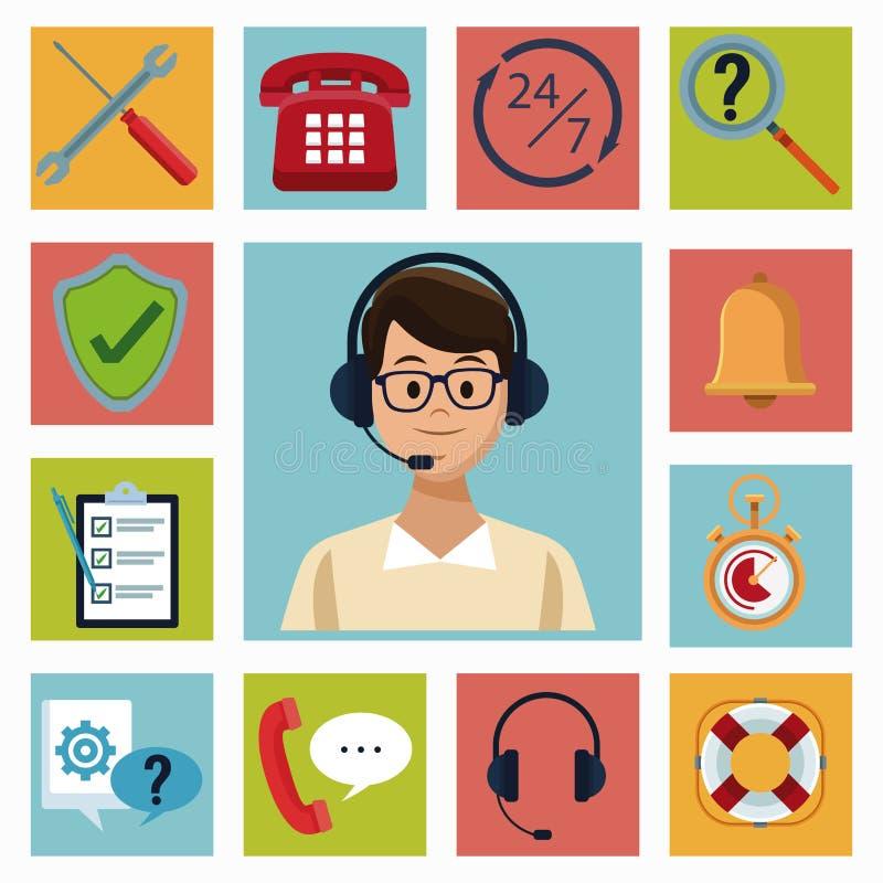 Set of customer service icons stock illustration
