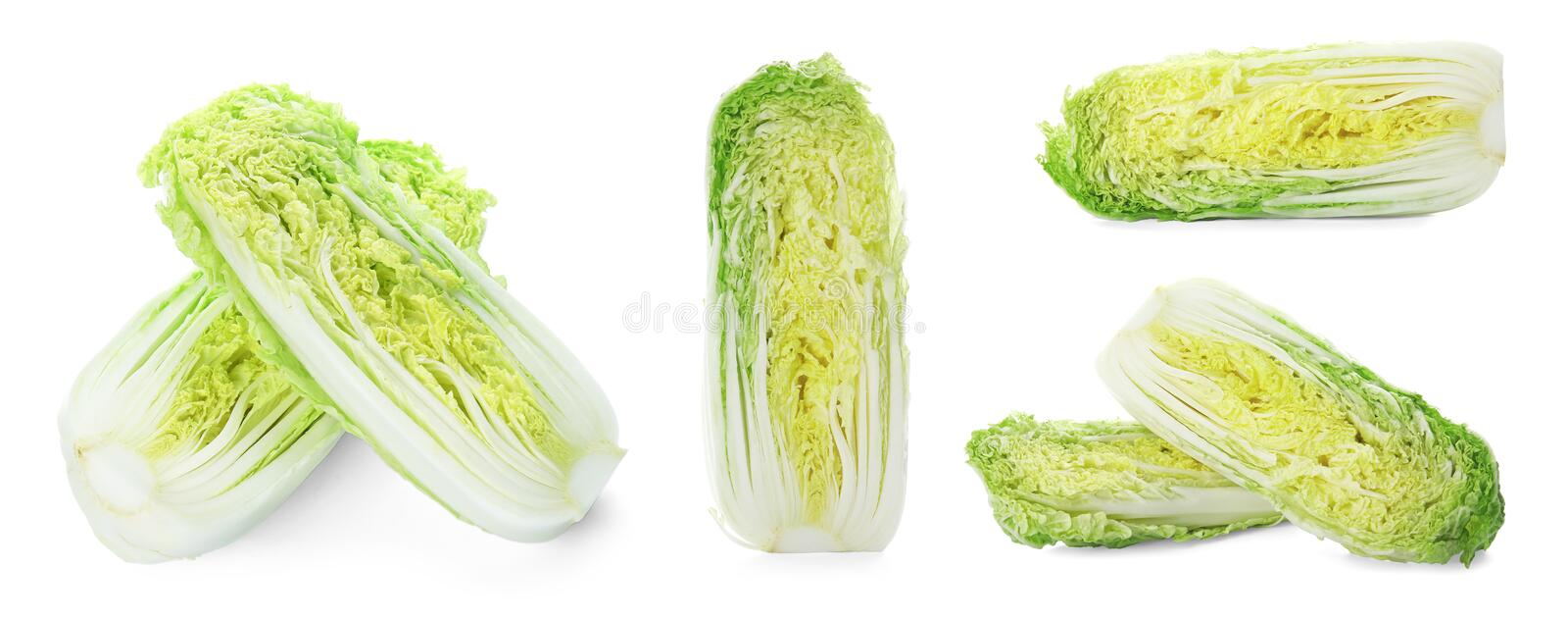 Set with cut fresh Chinese cabbages royalty free stock photos