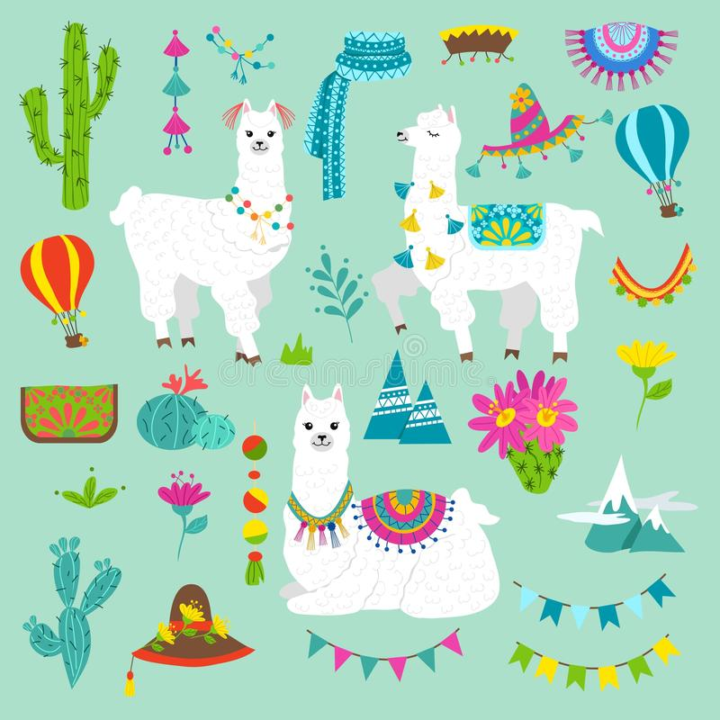 Set of cute alpacas and hand drawn elements. Llamas and cacti vector illustration. Summer design elements for greeting cards, baby royalty free illustration