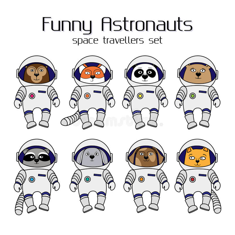 Set of cute animal astronauts in space suits. Set of cute animal astronauts, cartoon style vector illustration isolated in white background. Cartoon animal royalty free illustration