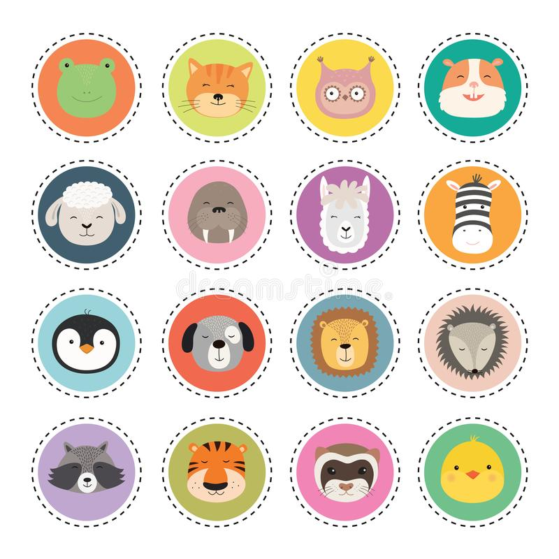 Set cute animal faces stickers. Vector Illustration royalty free illustration