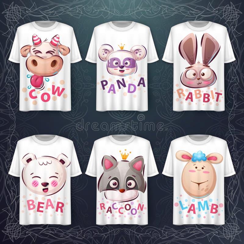 Set cute animal head - Idee für Print-T-Shirt stock abbildung