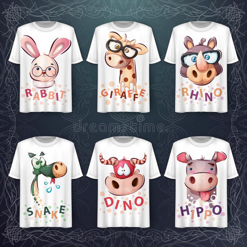 Set cute animal head - Idee für Print-T-Shirt lizenzfreie abbildung