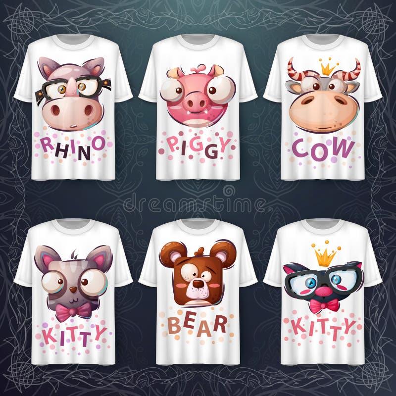 Set cute animal head - Idee für Print-T-Shirt vektor abbildung