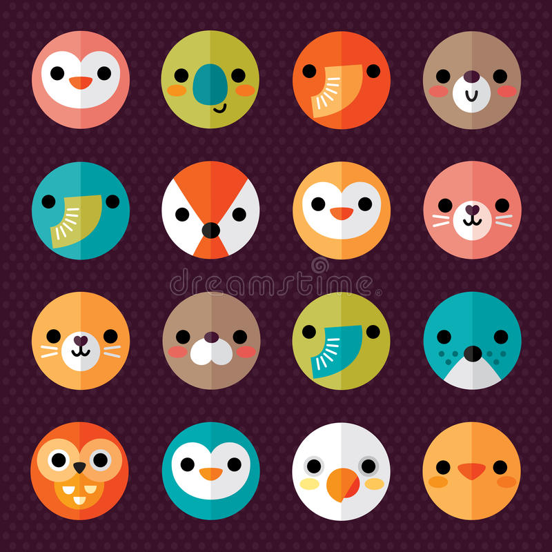 Set of cute animal smiley face stickers vector illustration