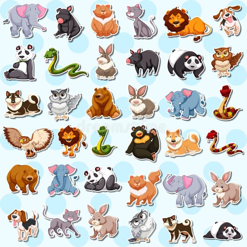 Set of cute animal sticker vector illustration