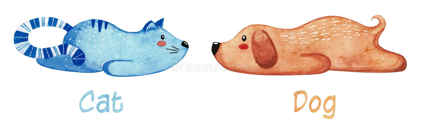 Set of cute animals. Lazy cat and dog. Watercolor. Set of cute animals. Lazy cat and dog. Watercolor vector illustration