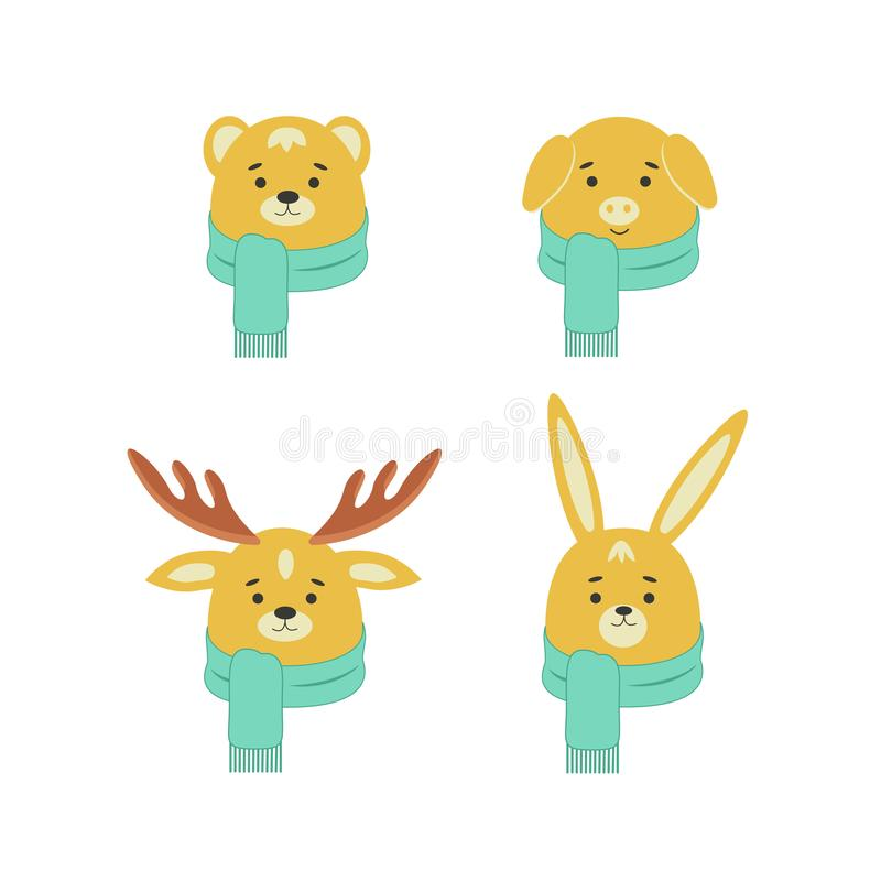 Set of cute animals. Pig, deer, bear, rabbit in cartoon style. vector illustration