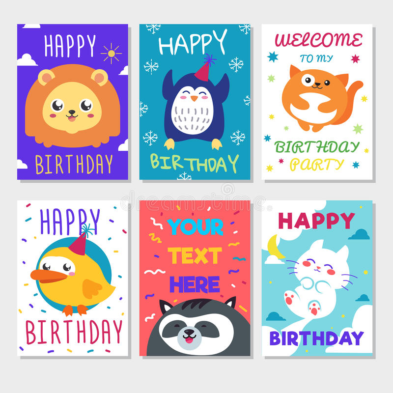 Set Of Cute Animals Poster Cute Happy Birthday Greeting Card For – Birthday Card for Child