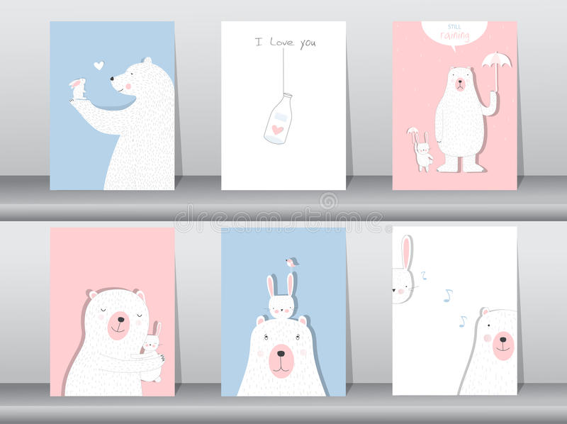 Set of cute animals poster,Design for valentine`s day ,template,cards,bear,Vector illustrations stock illustration