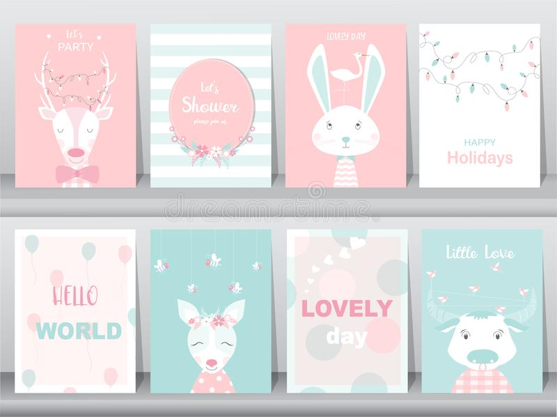 Set of cute animals poster,greeting cards, podters,template,cards,reindeers,rabbits,baby shower,birthday,Vector illustrations. Set of cute animals poster royalty free illustration