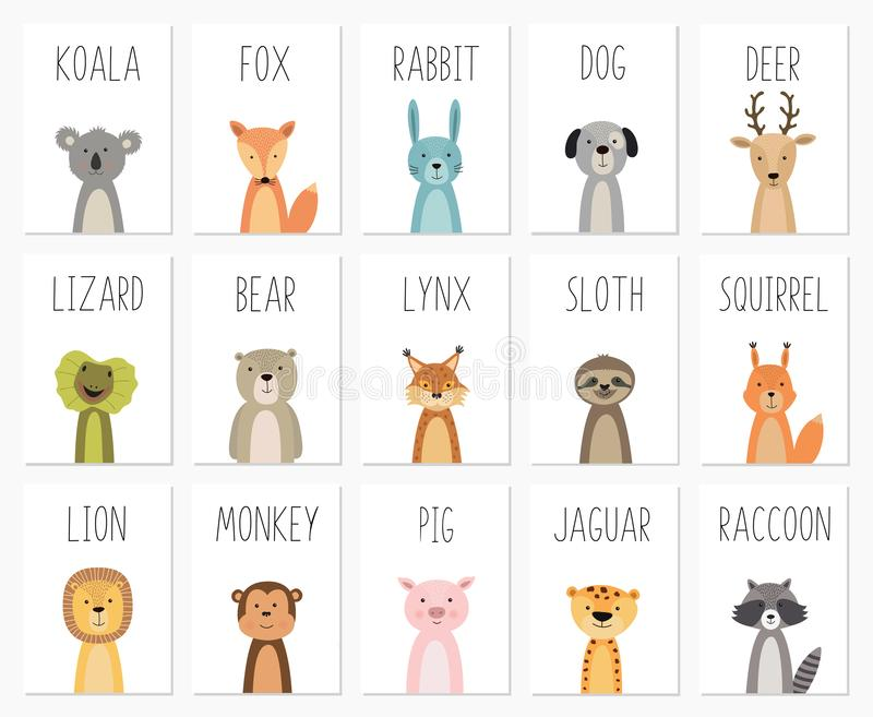 Set of cute animals poster,template,cards,bear ,rabbit, koala, fox, deer, pig, lizard, lynx, squirrel, raccoon, lion vector illustration