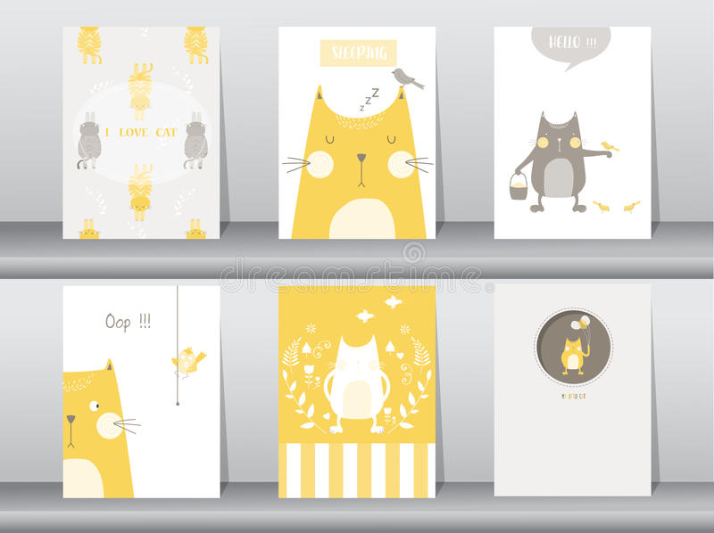 Set of cute animals poster,template,cards,cats,Vector illustrations stock illustration