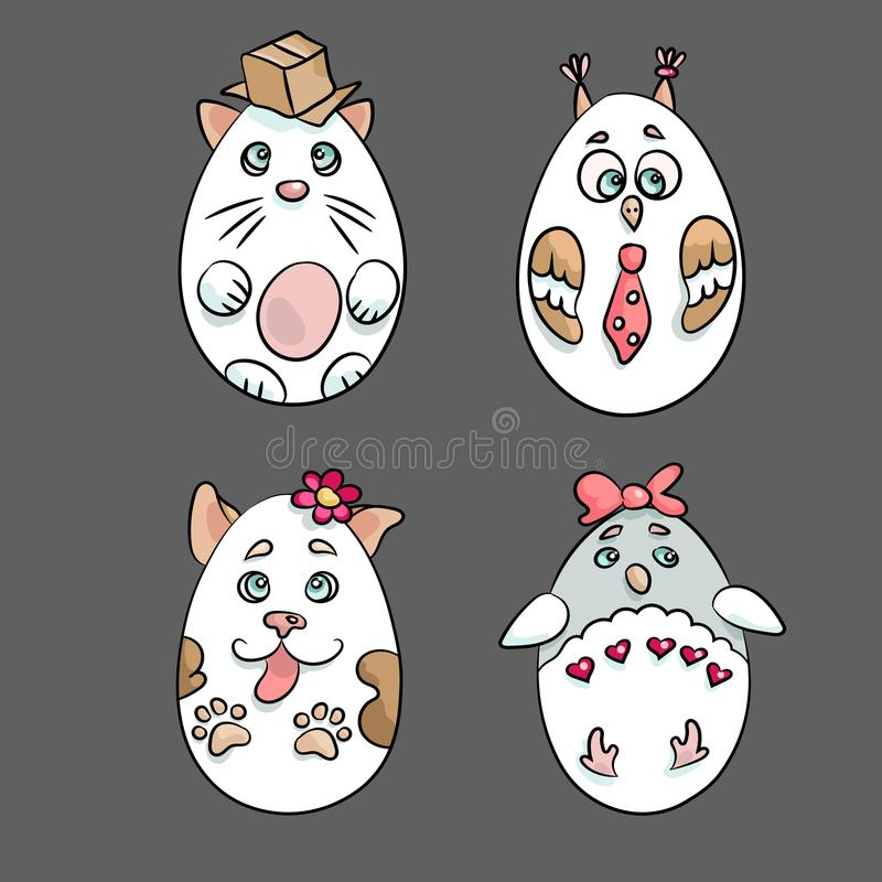 Set with 4 cute animals in a shape of Eatser Eggs. There are a c stock illustration