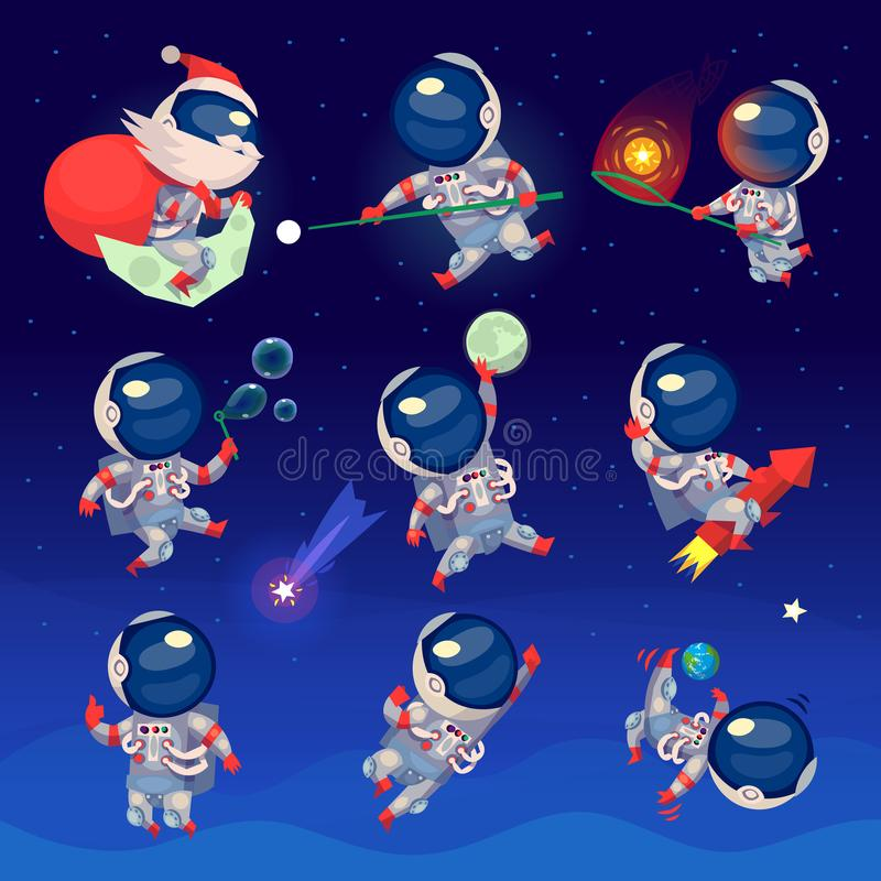 Set of cute astronauts in space. Working playing games and having fun. Astronauts in space suits with no gravity. Isolated vector images vector illustration