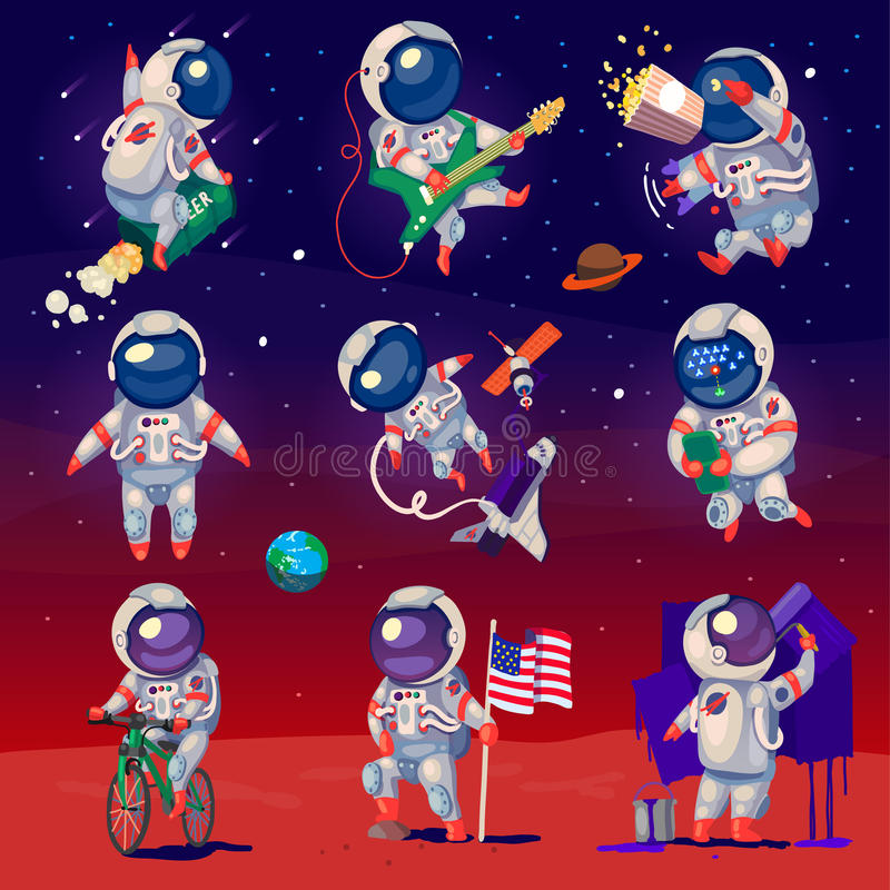 Set of cute astronauts in space vector illustration