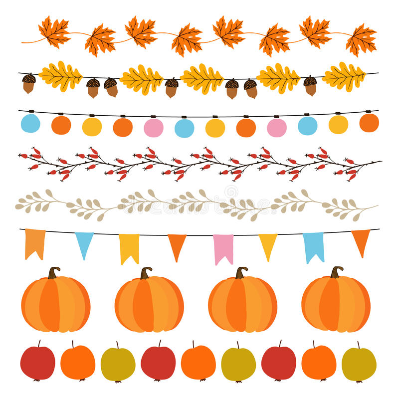 Set of cute autumn, fall garlands with lights, flags, acorns, leaves, pumpkins, apples and rose hips. Garden party decoration vector illustration
