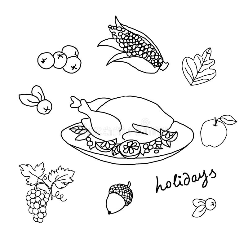 Thanksgiving Day. Template for coloring stock illustration