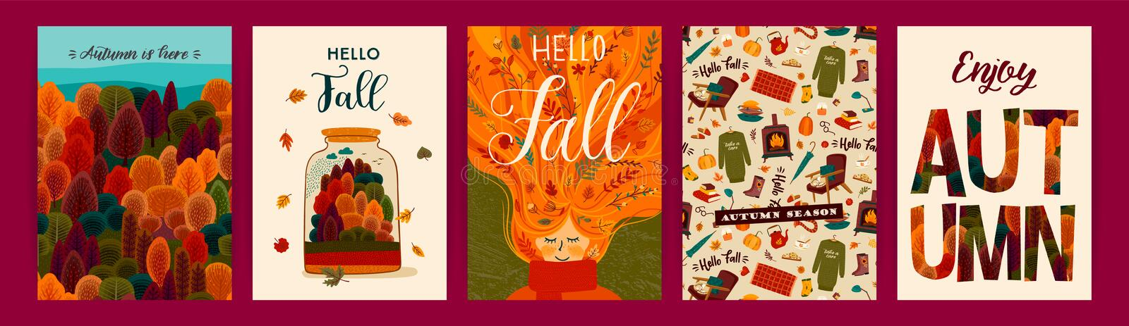 Set of cute autumn illustrations. Vector templates for card, poster, flyer, cover and other use. stock illustration