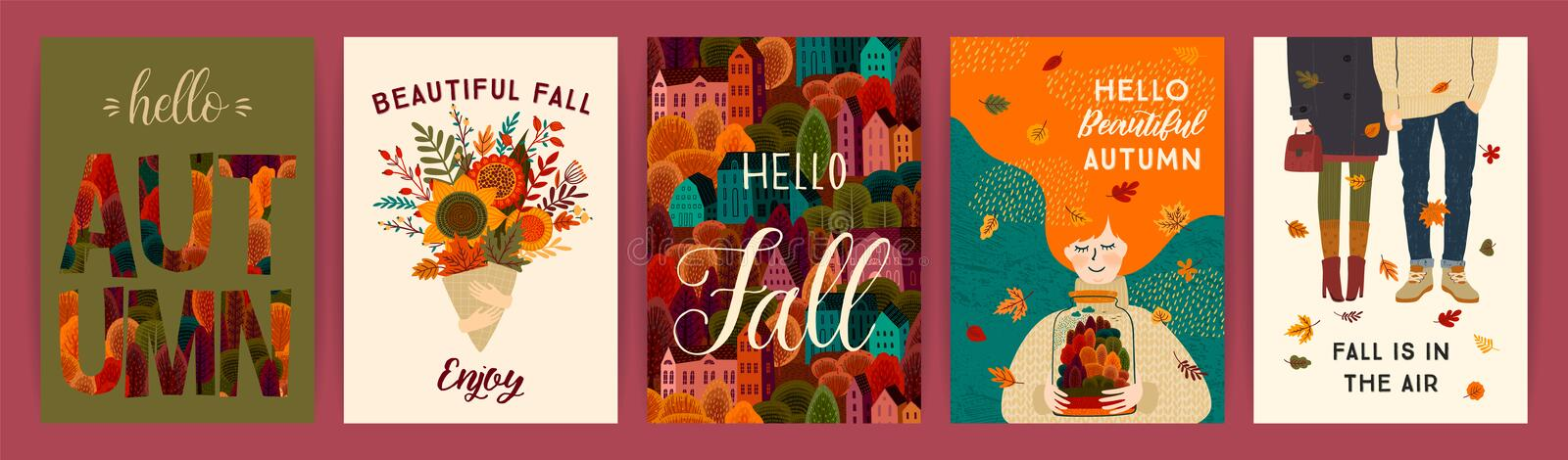 Set of cute autumn illustrations. Vector templates for card, poster, flyer, cover and other use. vector illustration