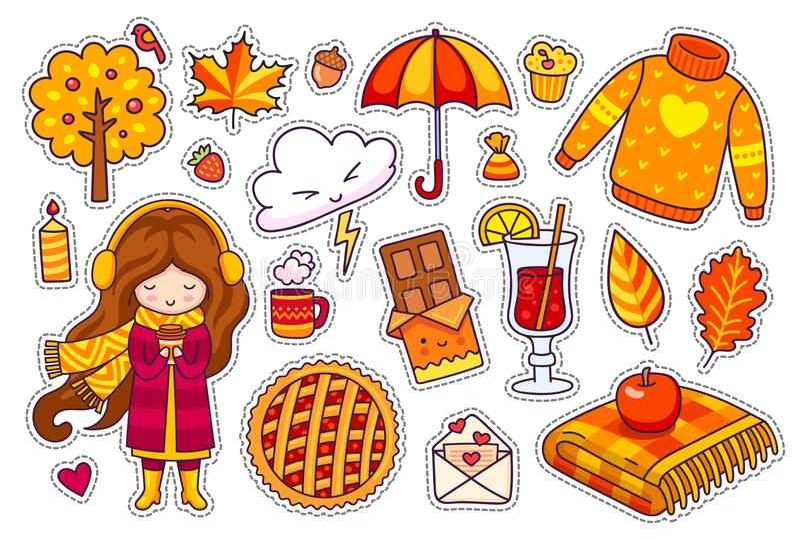 Set of cute autumn stickers. vector illustration