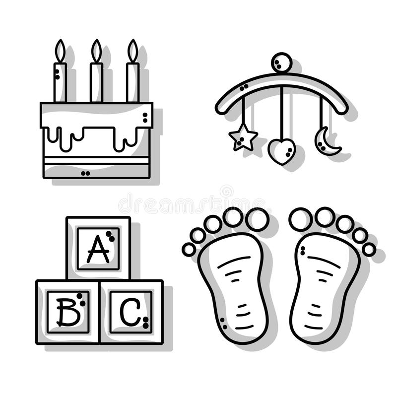Set cute babies tools icons. Vector illustration stock illustration