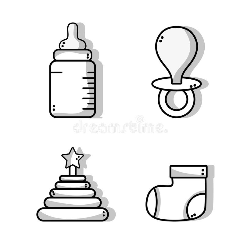 Set cute babies tools icons. Vector illustration vector illustration