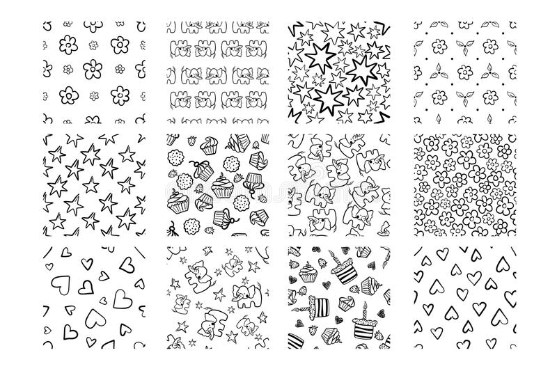 Set of cute baby shower Hand drawn seamless patterns isolated on white. stock illustration