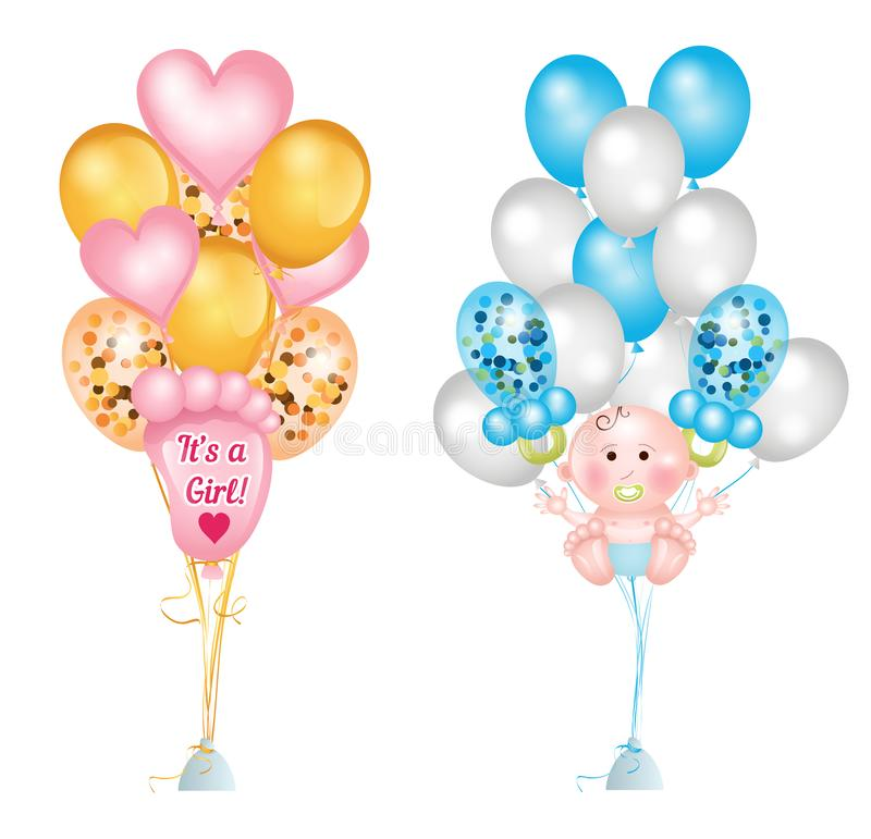 Set of cute balloons for baby shower. Baby footprints, baby boy, baby pacifier, heart balloons and balloons with confetti. Vector royalty free illustration