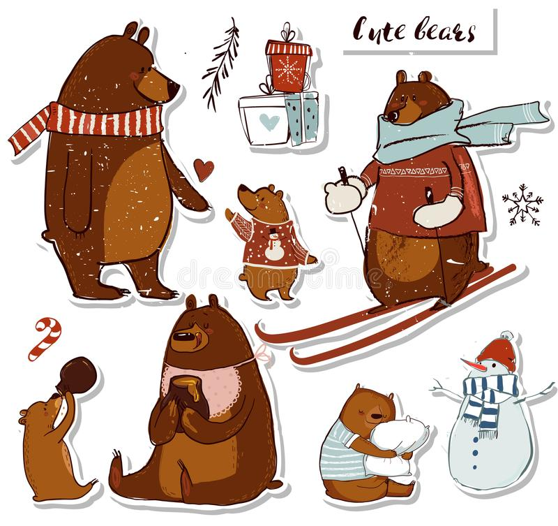 Set with cute bears royalty free illustration