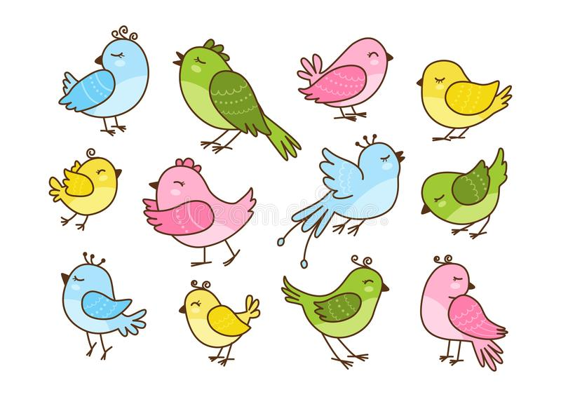 Set of 12 cute birds isolated on white. Background royalty free illustration