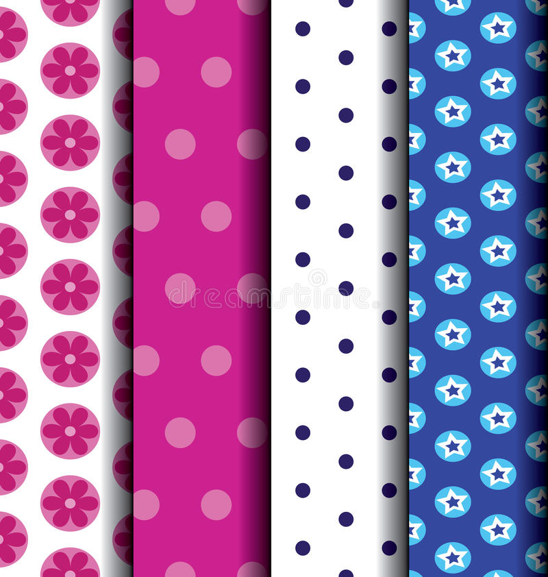 Set Cute blue and pink patterned. Chic different vector seamless patterns. Pink, white and blue color. Endless texture can be used for printing onto fabric and royalty free illustration