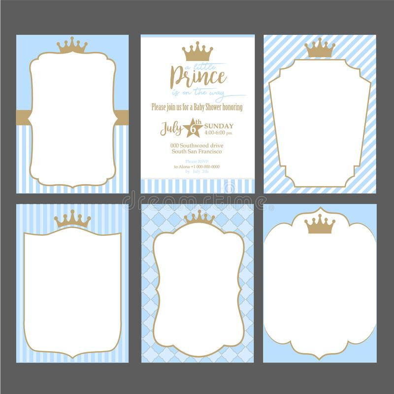 A set of cute blue templates for invitations. Vintage gold frame with crown. A little prince party. royalty free illustration