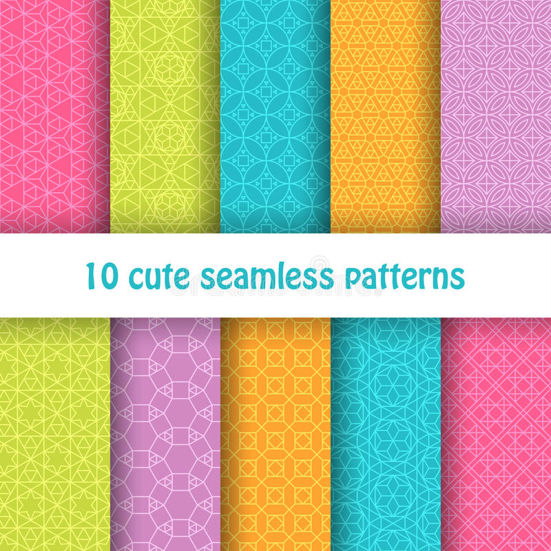 Set of cute bright seamless patterns. Abstract geometric background vector illustration