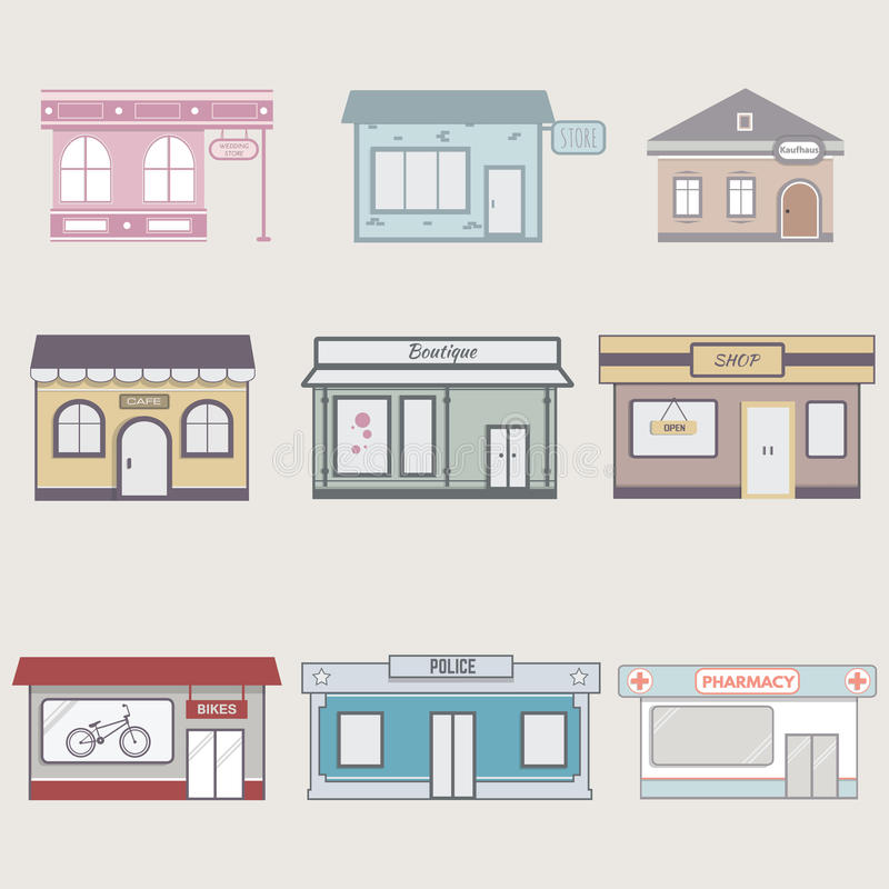 Set of cute buildings for infographics. stock photography