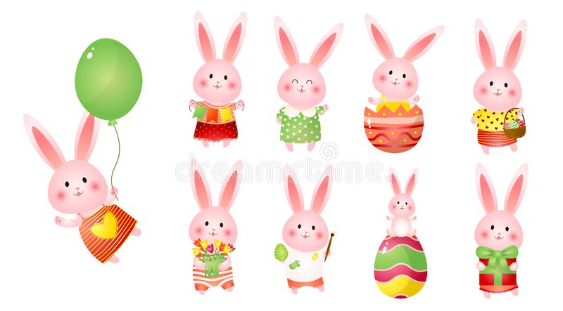 Set of cute easter bunnies with balloon, gift, flags, flowers and eggs as readiness holiday vector illustration